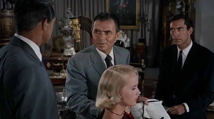 """Cary Grant, James Mason, Eva Marie Saint et Martin Landau dans """"La Mort aux trousses"""""""