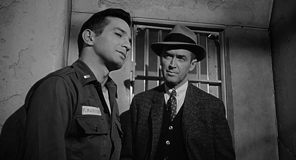 Ben Gazzara et James Stewart dans Autopsie d'un meurtre